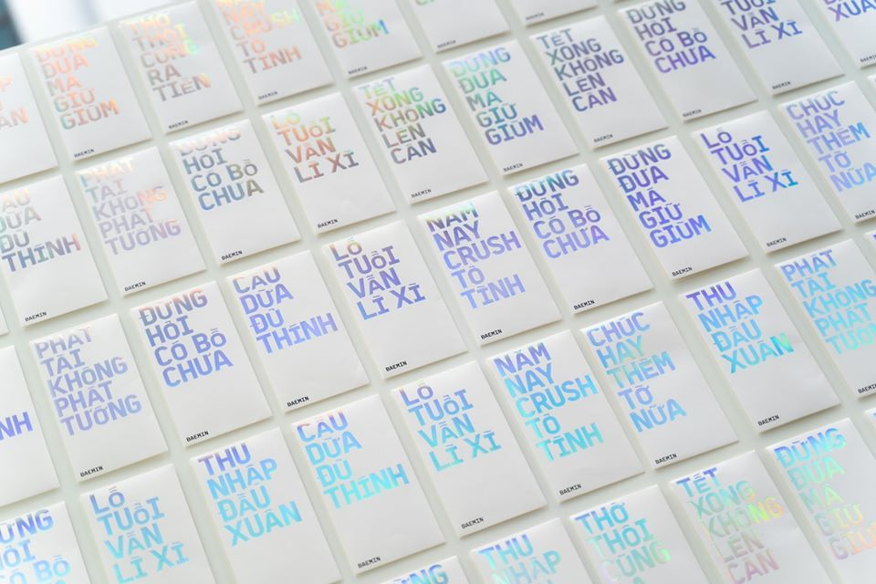 Baemin's envelope for New Year's cash gifts, with phrases such as