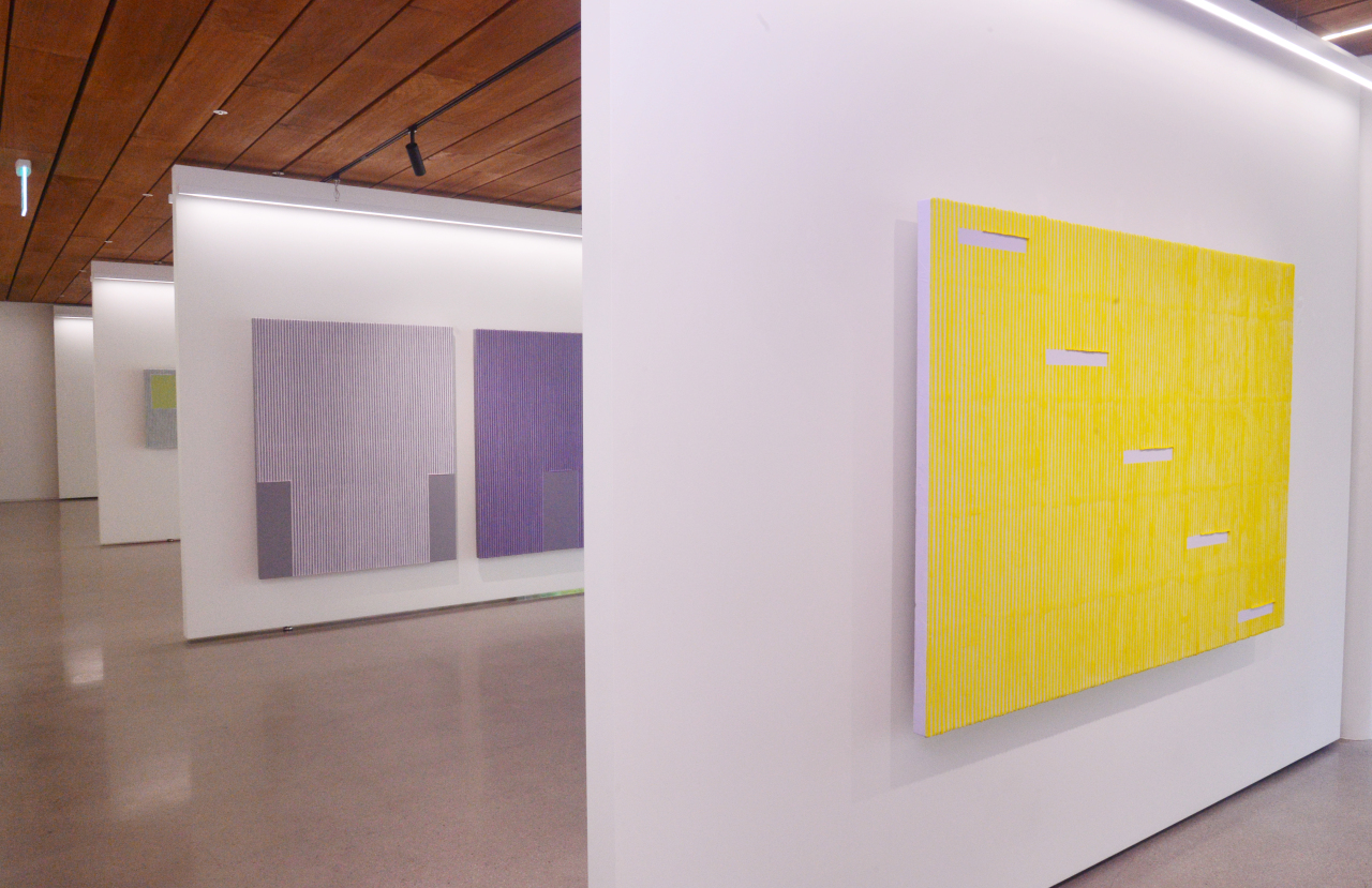 Some of Park's color Ecriture series are displayed at the gallery in the Gizi Art Base. (Park Hyun-koo/The Korea Herald)