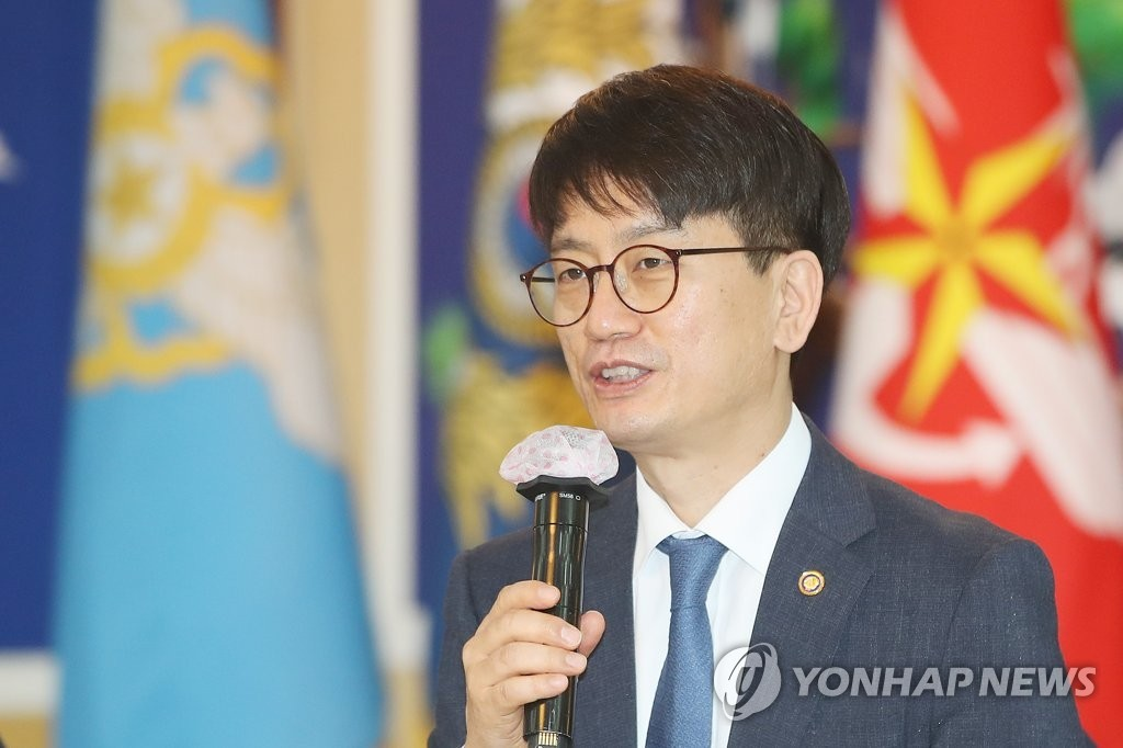 In this file photo, taken May 26, 2020, Vice Defense Minister Park Jae-min speaks during a meeting in Seoul. (Yonhap)