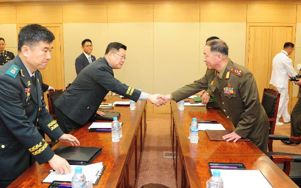 The two Koreas hold an inter-Korean military talk to discuss reopening the military hotline, June 25, 2018. (Ministry of National Defense)