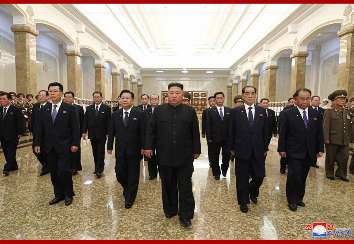 North Korean leader Kim Jong-un visits a mausoleum at Pyongyang's Kumsusan Palace of the Sun to mark the anniversary of the death of his grandfather, the regime's founding leader Kim Il-Sung, according to the state broadcaster KCNA on July 8, 2020. (KCNA-Yonhap)