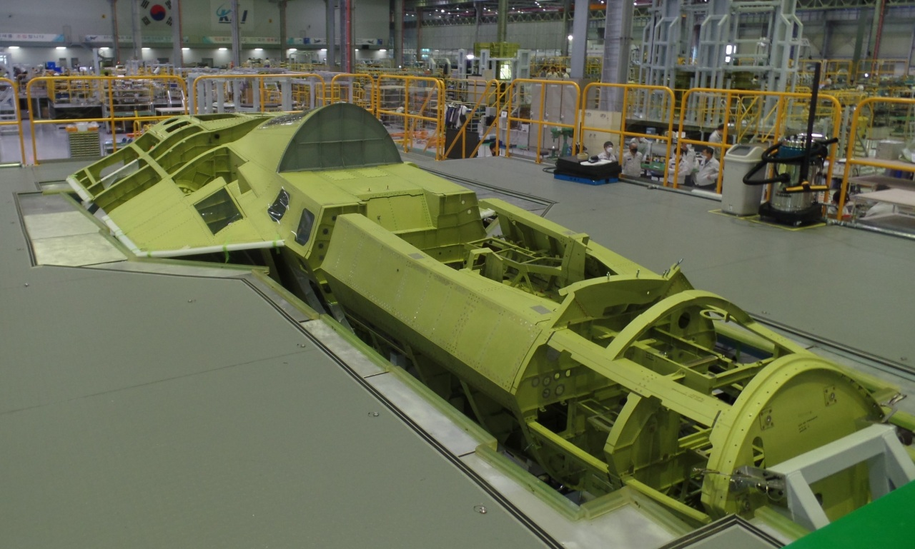 A fuselage image of the first KF-X prototype at KAI's assembly facility in Sacheon, South Gyeongsang Province (KAI)