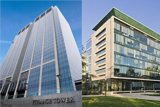 Finance Tower Complex in Belgium (left) and Crystal Park in Paris