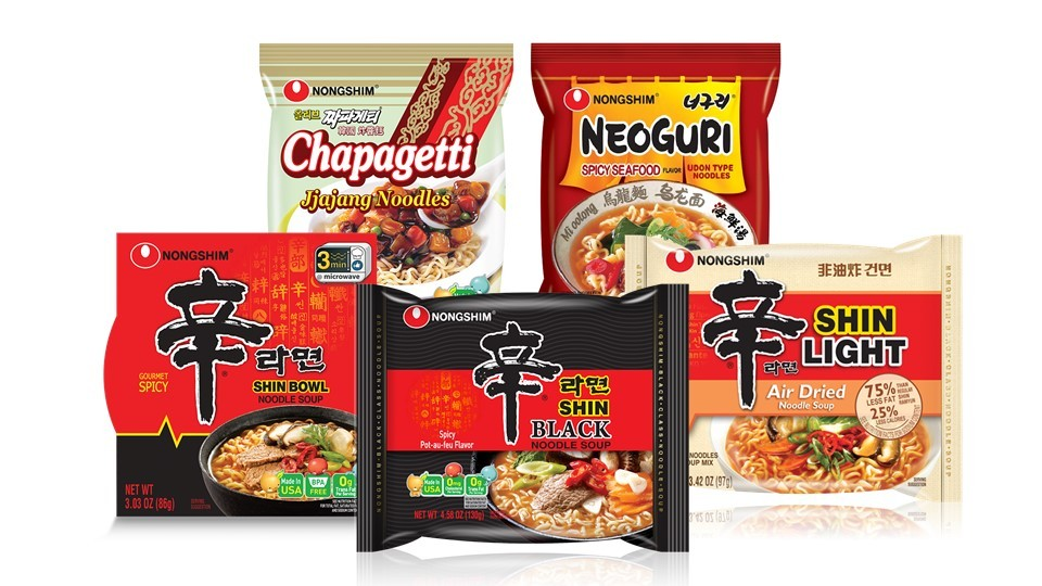 Nongshim's major instant noodle products (from left to right, clockwise): Chapaguri, Neoguri, Shin Ramyun, Shin Ramyun Black, Shin Ramyun Air Dried. (Nongshim)