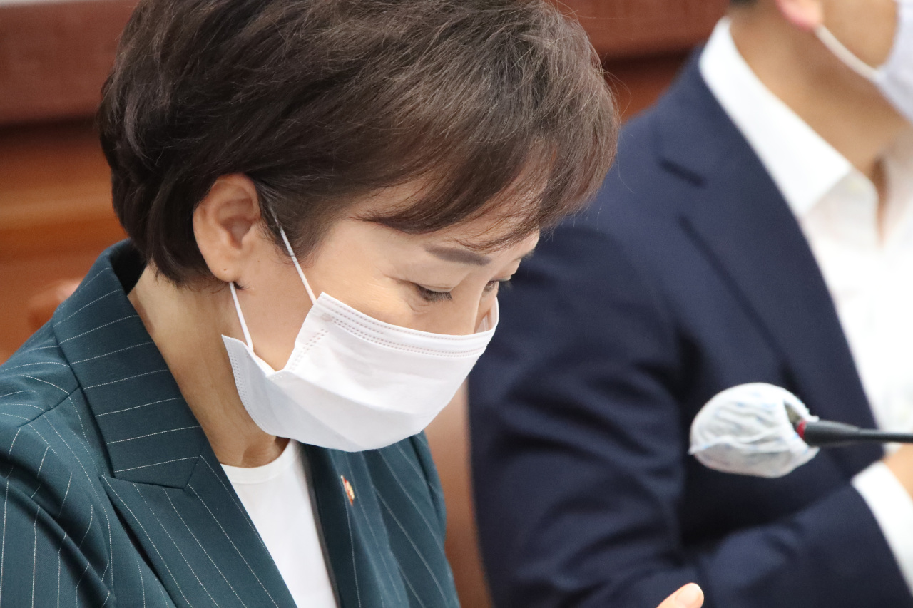 Land Minister Kim Hyun-mee attends a Cabinet meeting at the Seoul Government Complex on Tuesday. (Yonhap)