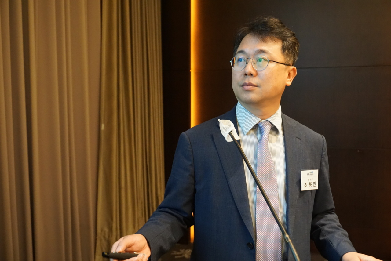 Cho Yong-min, executive director in charge of overseas investment at Mastern Investment Management, briefs reporters on REIT listing plan in Seoul Wednesday. (Mastern Investment Management)