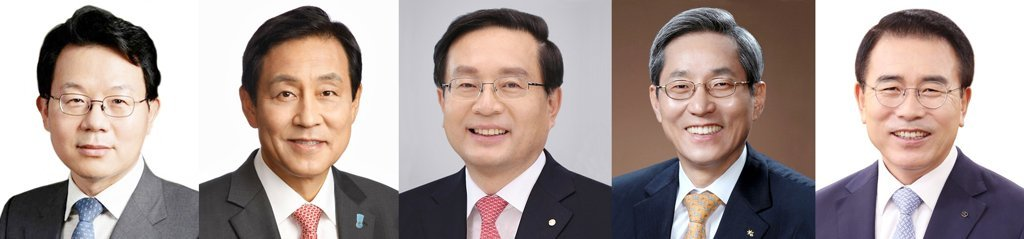 (From left) NH NongHyup Financial Group Chairman Kim Kwang-soo, Hana Financial Group Chairman Kim Jung-tai, Woori Financial Group Chairman Sohn Tae-seung, KB Financial Group Chairman Yoon Jong-kyoo, Shinhan Financial Group Chairman Cho Yong-byoung. (Yonhap)