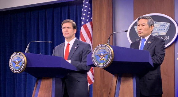 South Korean Defense Minister Jeong Kyeong-doo (right) and US Defense Secretary Mark Esper (Yonhap)