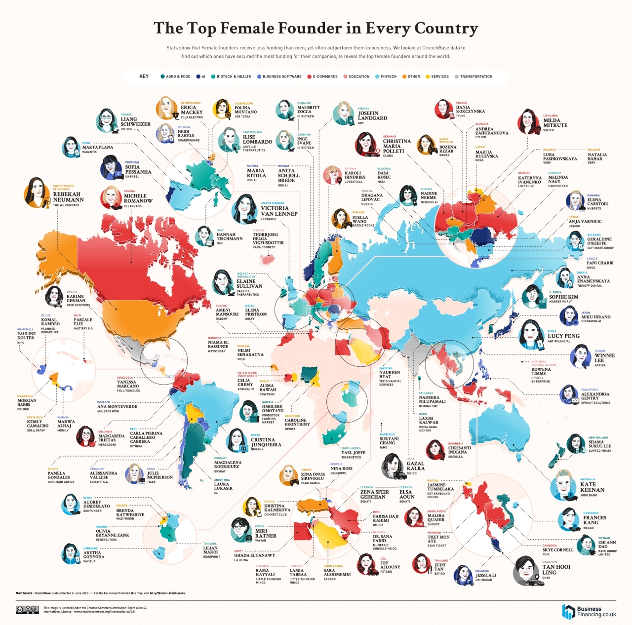 A map shows the locations of female founders from around the world. (Businessfinancing.co.uk)
