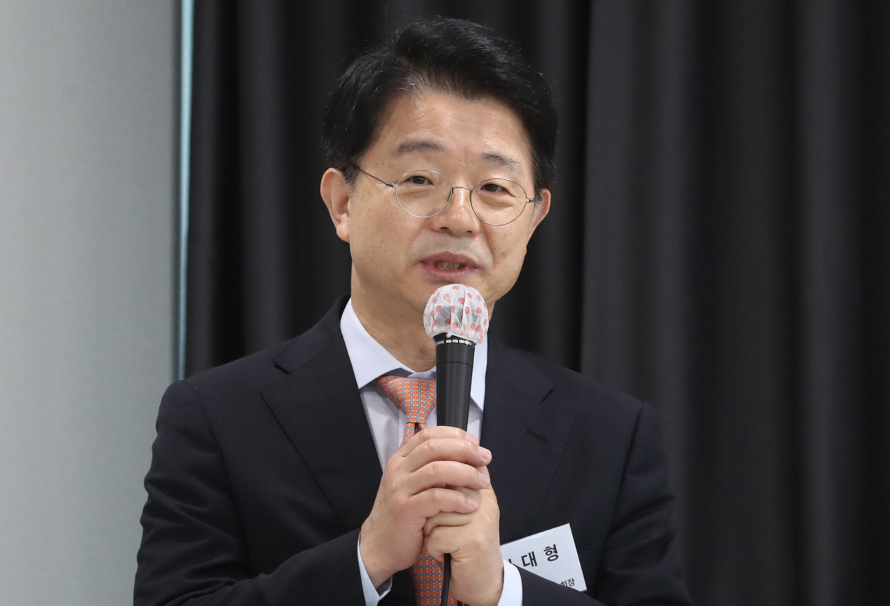Kim Dae-hyung, president of Korea Association of Real Estate Investment Trusts, speaks at a media event in Seoul, Wednesday. (Yonhap)