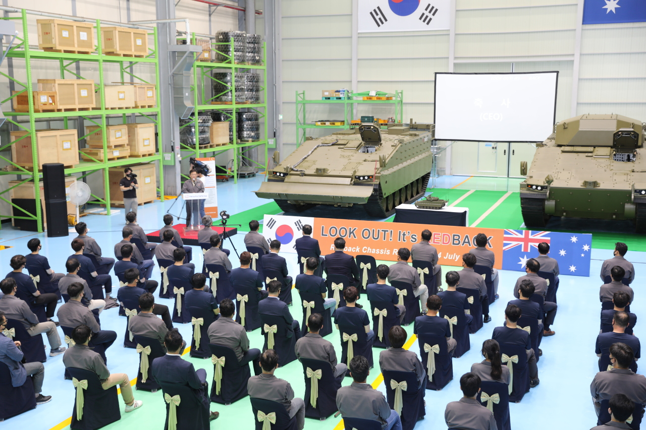 Infantry fighting vehicle Redback, developed by Hanwha Defense for the Australian Army, makes its public debut at a rollout ceremony in Changwon, South Gyeongsang Province, July 24, 2020.Australia will make a final offer on the Korean-made vehicles by late 2022, after military testing. (Hanwha Defense)