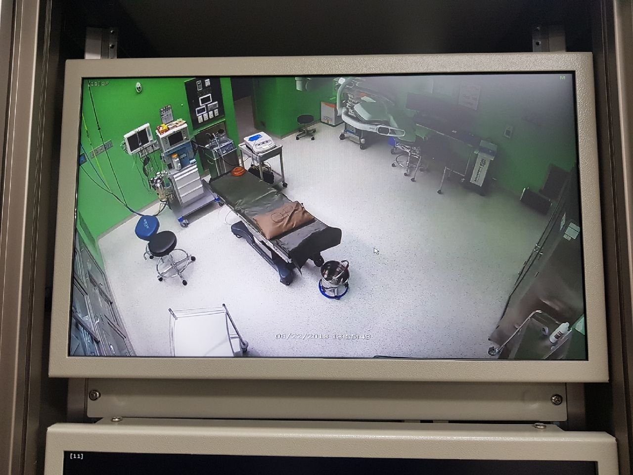 A screen shows surveillance camera footage from an operating room at the Gyeonggi Provincial Medical Center's Ansung Hospital. (Gyeonggi Provincial Government)