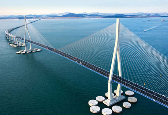 A promotional image of Incheon Grand Bridge (Macquarie Korea Infrastructure Fund)