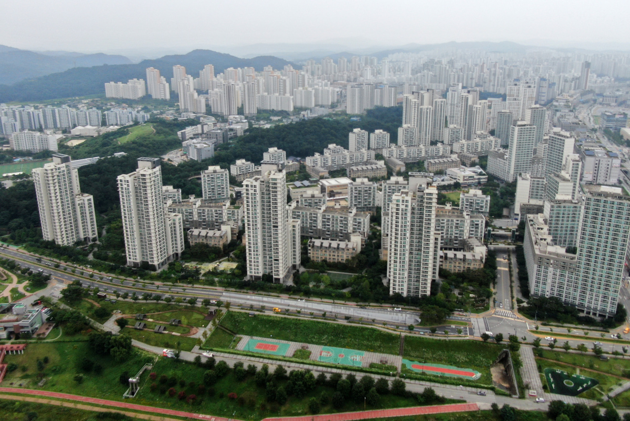 An aerial view of a residential district in Sejong on July 27 (Yonhap)