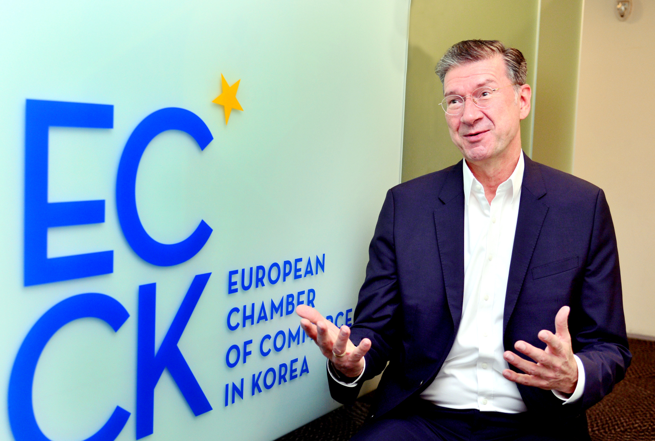 Dirk Lukat, a new chairperson of the ECCK and CEO of DB Schenker Korea (Park Hyun-koo/The Korea Herald)