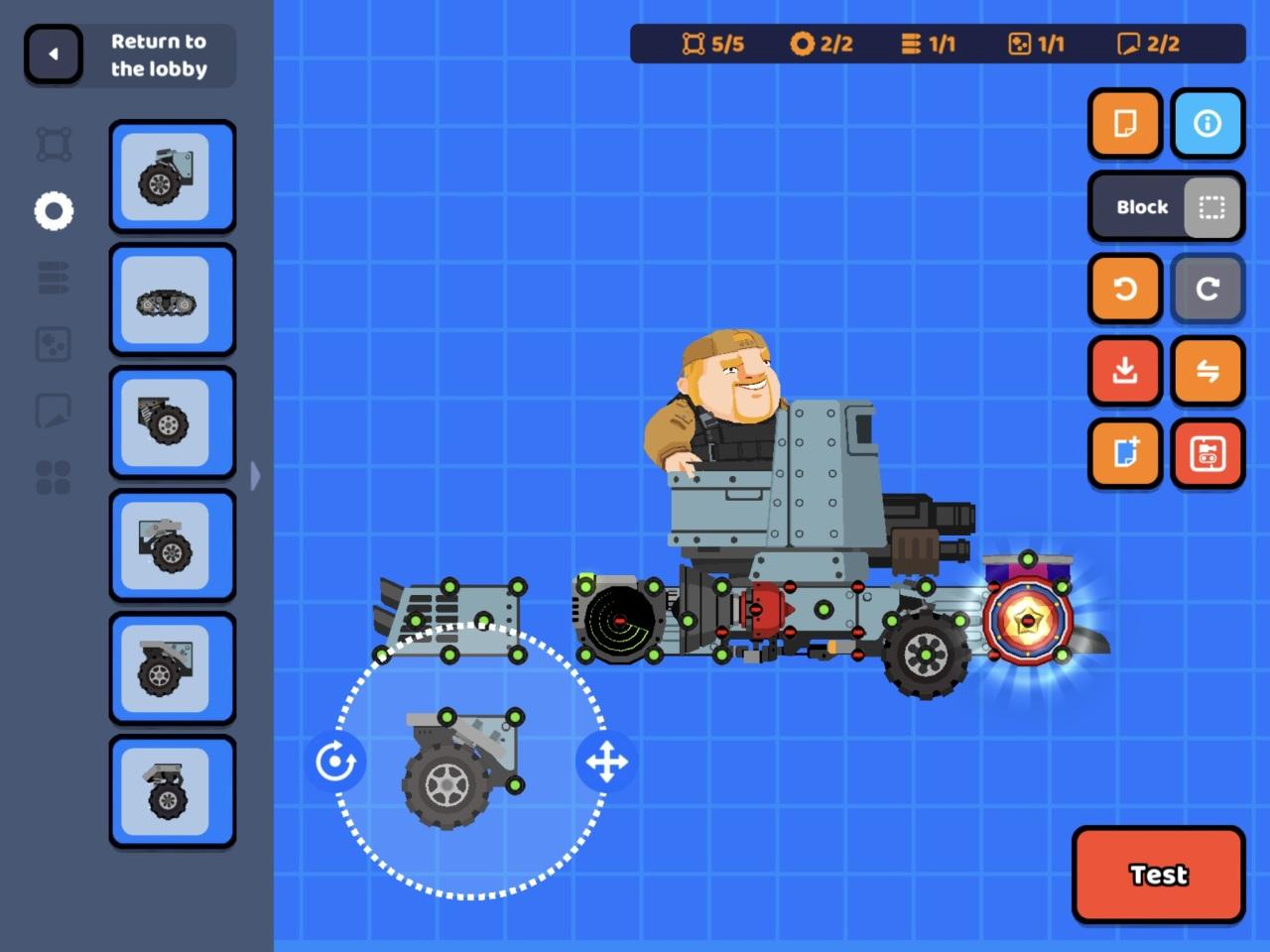 Assembling a tank (Super Tank Blitz Screenshot)