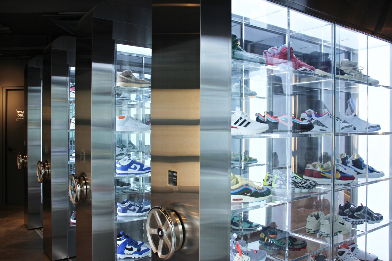 Naver Snow's Kream showroom in Hongdae, Seoul, where the company has some 300 pairs of premium limited sneakers on display. Kicks here are not for sale. (Lim Jeong-yeo/The Korea Herald)