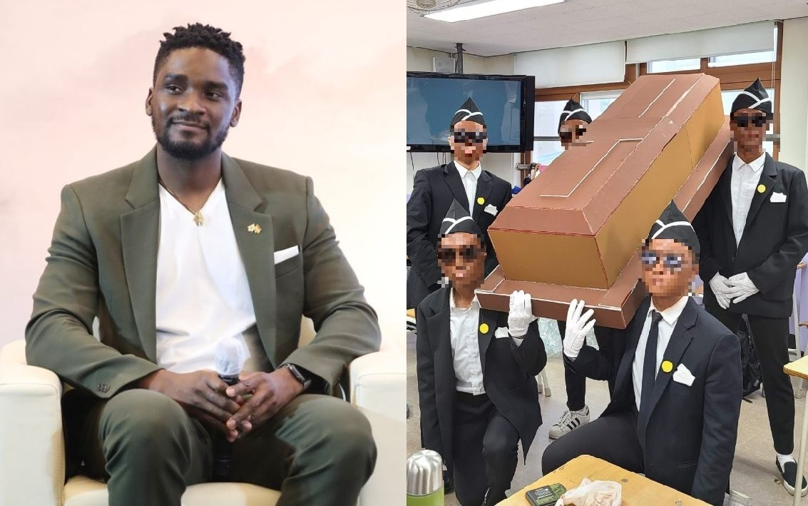 Sam Okyere (Yonhap)/ Graduation picture of Uijeongbu High School students parodying the Ghanaian dancing pallbearers (Uijeongbu High School Facebook)