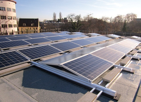 Hanwha Q Cells' solar power modules installed in Frankfurt, Germany. (Hanwha Q Cells)