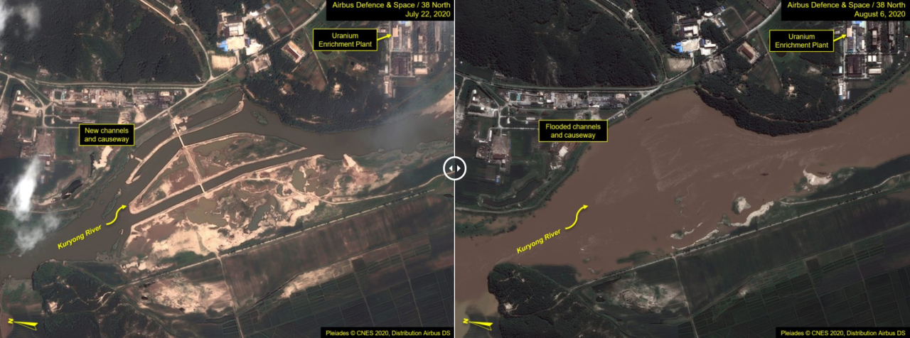 Satellite images taken on July 22 (left photo) and Aug. 6 (right), released by 38 North, show North Korea's Yongbyon nuclear complex partially flooded after recent heavy rain. But the uranium enrichment plant, the center's key facility, looks unaffected. (Yonhap)