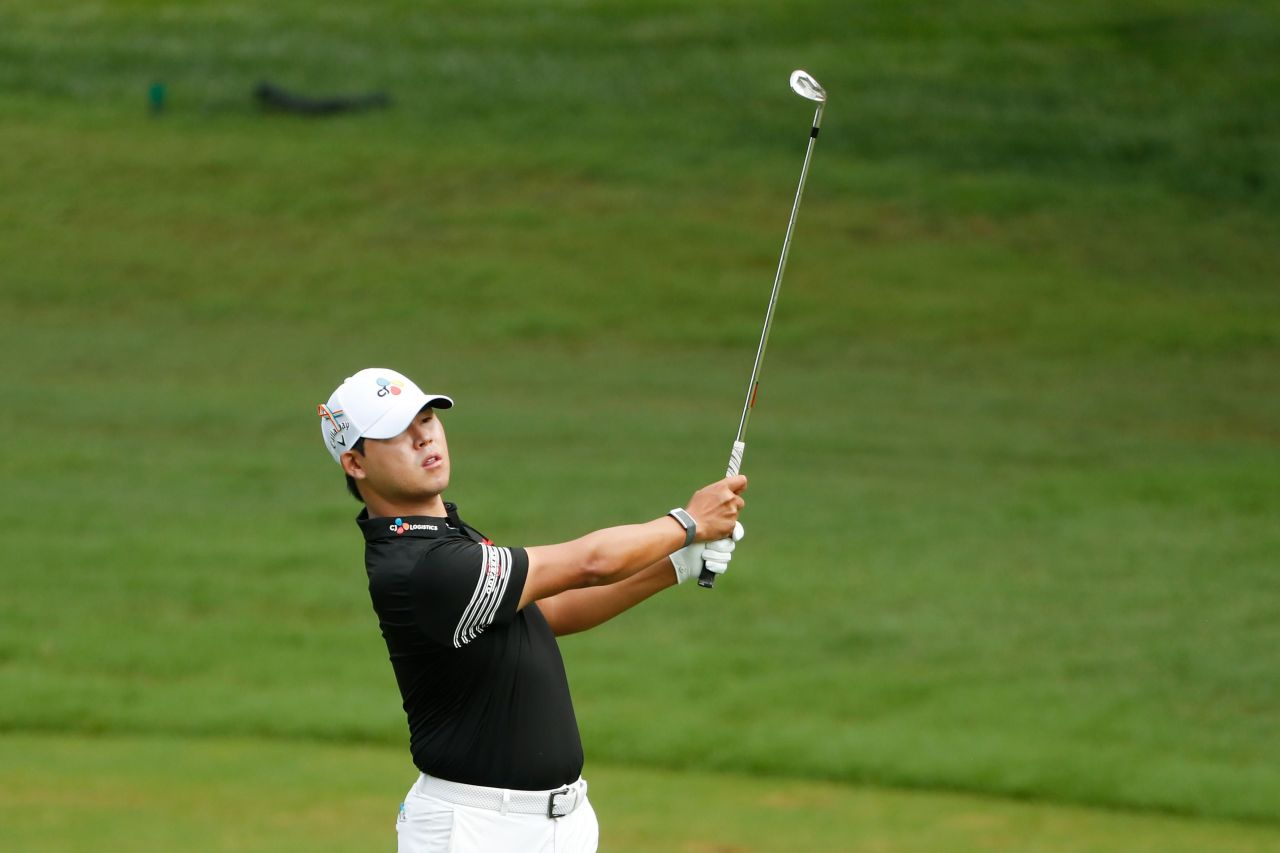Kim Si-woo of South Korea plays his second shot on the second hole during the third round of the Wyndham Championship at Sedgefield Country Club on August 15, 2020 in Greensboro, North Carolina. (AFP-Yonhap)