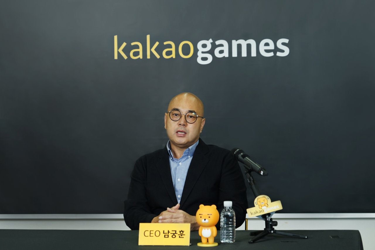 Kakao Games CEO Namkoong Whon speaks at an online briefing with reporters on Wednesday. (Kakao Games)