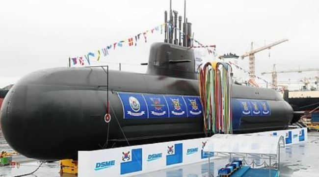 Dosan submarines at an unveiling ceremony in the city of Geoje, South Gyeongsang Province, September 14, 2018 (Yonhap)