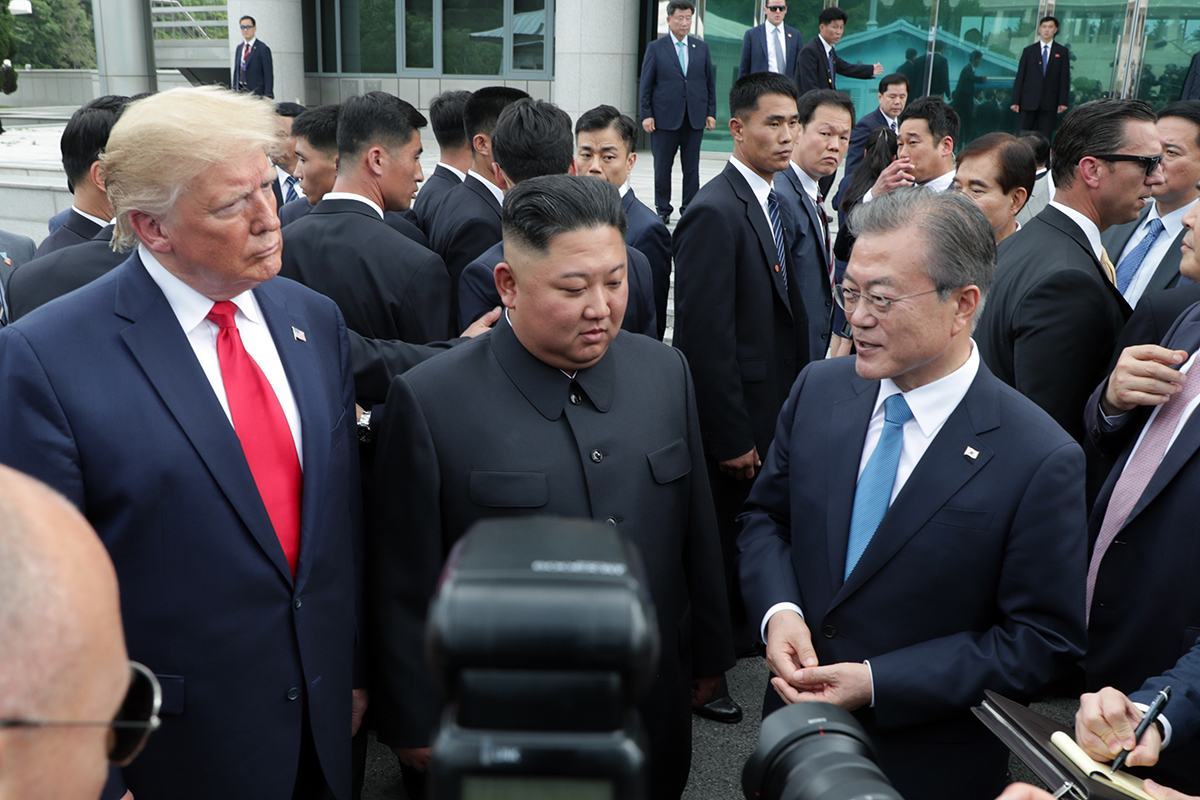 President Donald Trump, leader Kim Jong-un, President Moon Jae-in (from left to right) (Cheong Wa Dae)