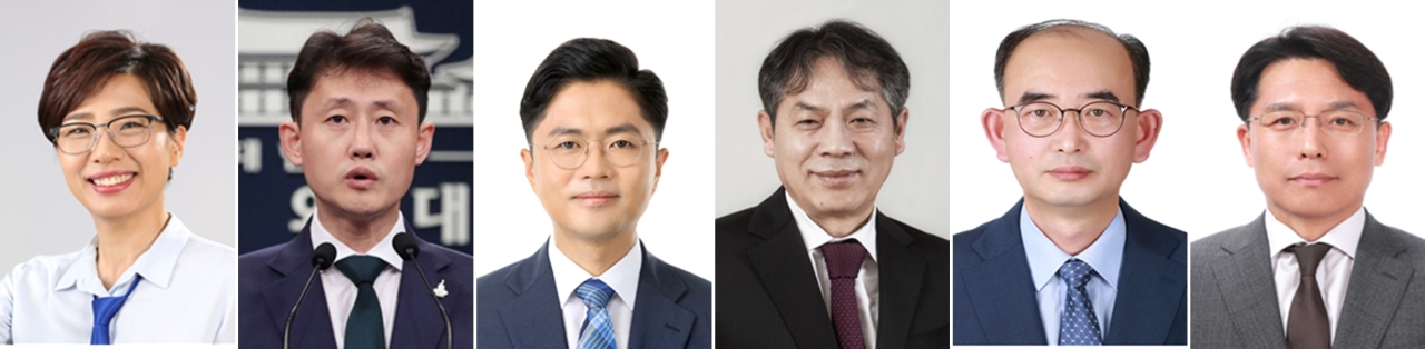 Newly appointed presidential secretaries. From left: Bae Jae-jeung, Yoon Jae-kwan, Kim Kwang-jin, Park Jin-sub, Chang Yong-seok and Noh Kyu-duk. (Yonhap)