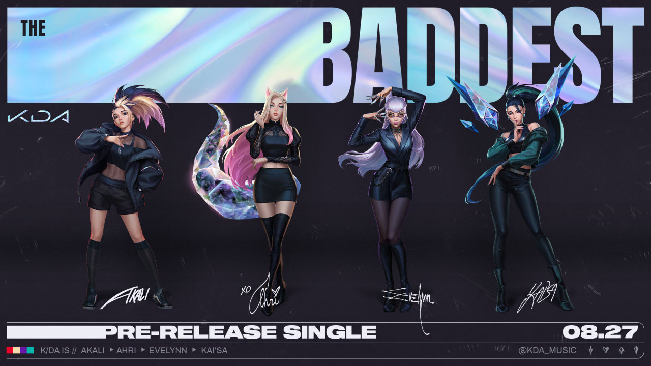 "K/DA announces the group's new single ""Baddest."" (Riot Games)"
