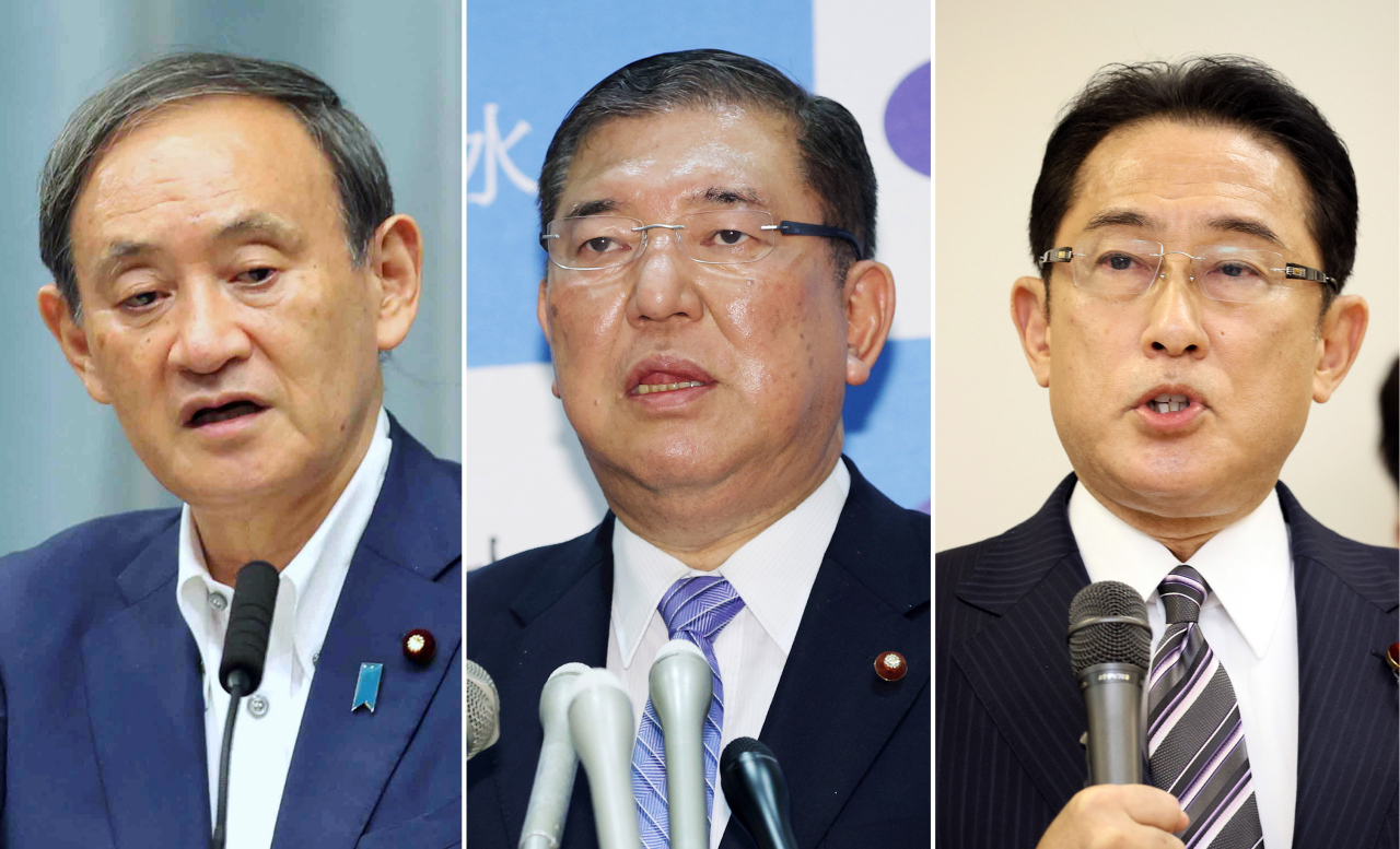 A combined photograph shows (L-R) Japan's Chief Cabinet Secretary Yoshihide Suga, Former Defense Minister Shigeru Ishiba, LDP policy chief and former Foreign Minister Fumio Kishida in Tokyo, Japan, 01 September 2020. According to media reports, Chief Cabinet Secretary Suga has a rising support from the ruling Liberal Democratic Party (LDP) lawmakers to succeed to outgoing Japanese Prime Minister Shinzo Abe. (AFP-Yonhap)
