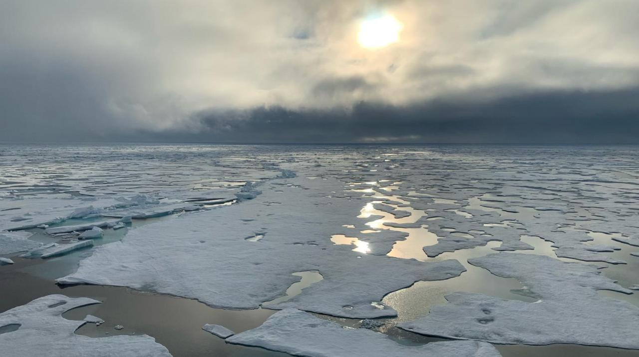 In this handout photo provided by Markus Rex, head of the MOSAiC expedition, a view of the North Pole from RV Polarstern, Wednesday, Aug. 19. (AP-Yonhap)