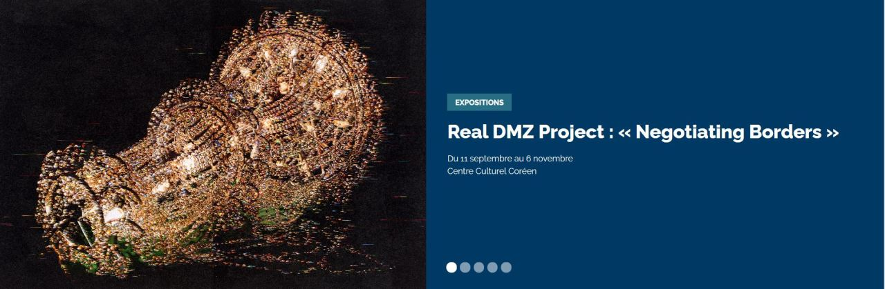 "Screenshot of information on the contemporary art exhibition ""Real DMZ Project: Negotiating Borders"" on the Korean Cultural Center's website (Korean Cultural Center)"