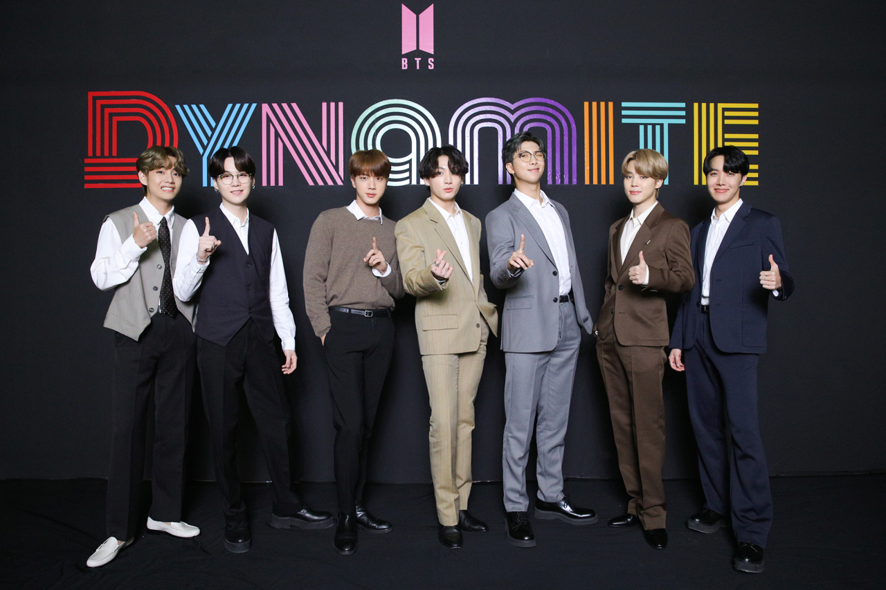 BTS poses at an online press conference to celebrate the band's No.1 debut on Billboard Hot 100 chart. (Big Hit Entertainment)