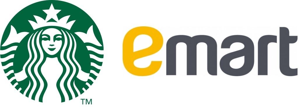 Starbucks Coffee, Emart logos (Starbucks Coffee Korea, Emart)