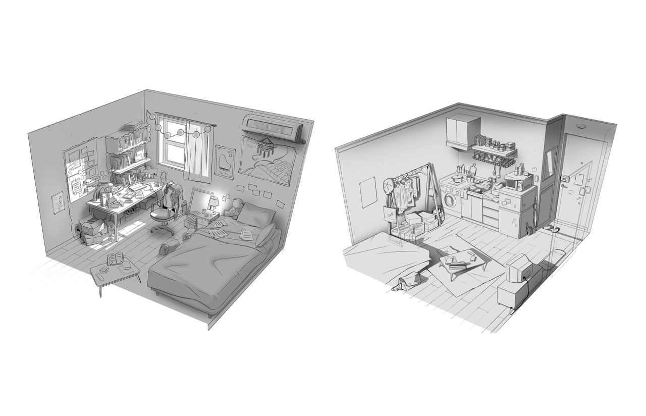 "An early sketch of the protagonist's room in the ""Magic Door"" MV (Big Hit Entertainment)"