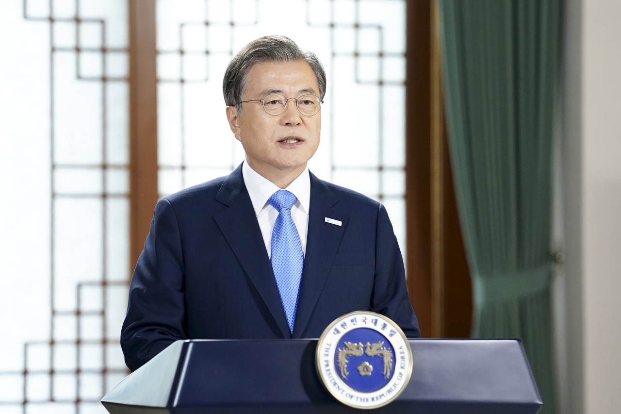 President Moon Jae-in speaks Monday during a virtual speech for the first International Day for Clean Air for blue skies. (Cheong Wa Dae)