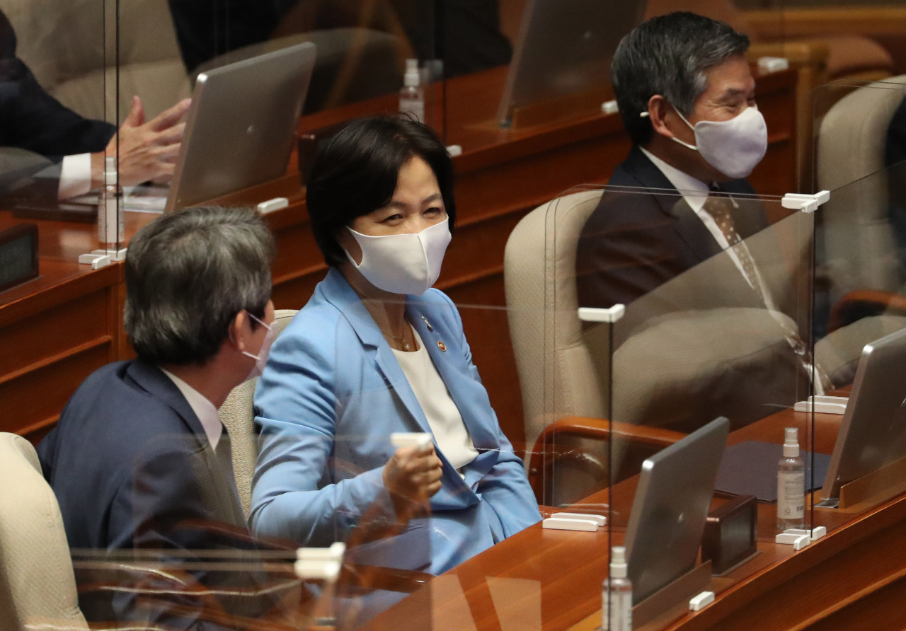 Minister of Justice Choo Mi-ae attends a National Assembly session on Tuesday. Yonhap