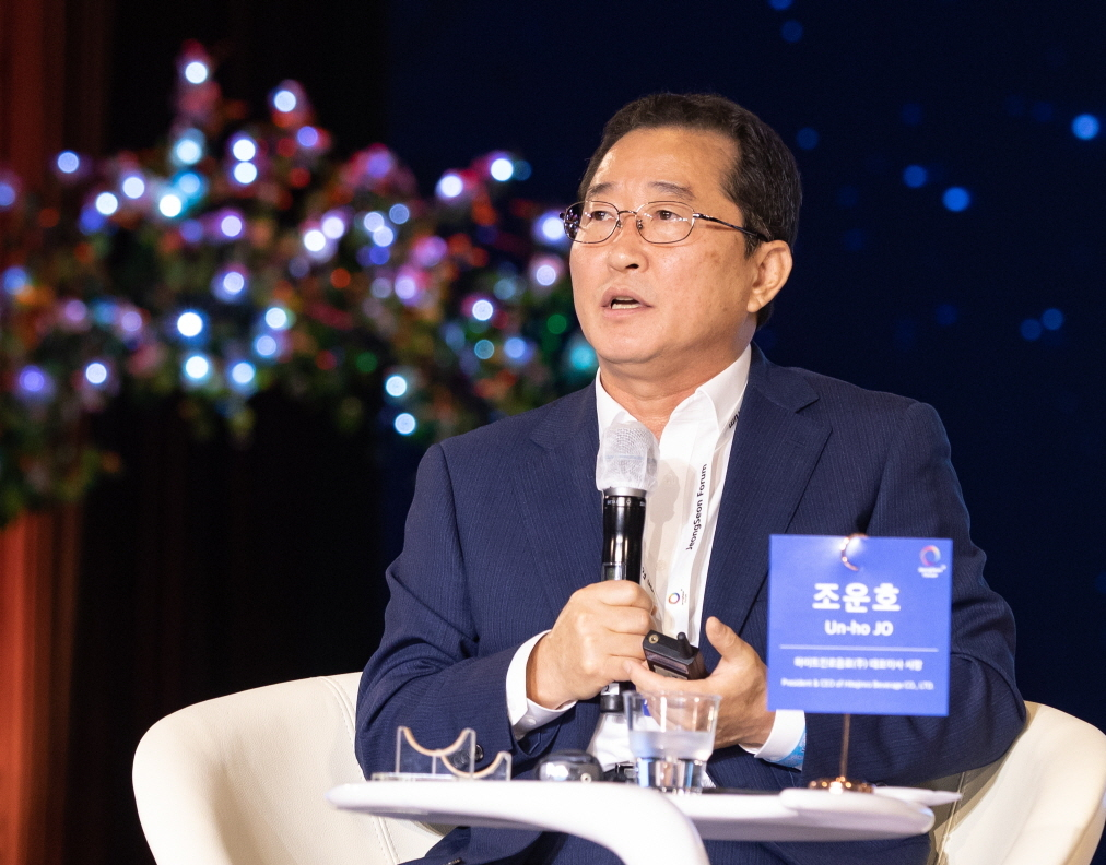 Jo Un-ho, CEO of Hitejinro Beverage, speaks during a session at JeongSeon Forum on Aug. 21. (Gangwon Province)