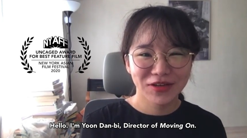 "Director Yoon Dan-bi of ""Moving On"" gives her acceptance speech at the 2020 NYAFF. (YouTube)"