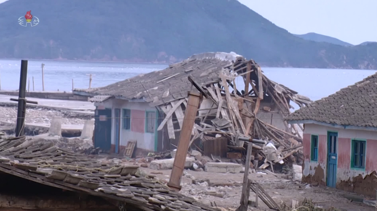 A village in North Korea is destroyed by Typhoon Maysak. (KCNA-Yonhap)
