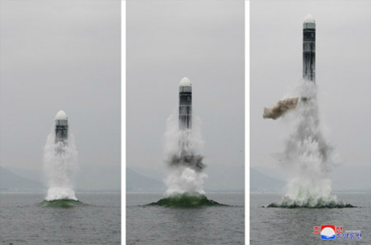 North Korea claims to have tested Pukguksong-3 in waters off Wonsan, Gangwon Province, on Oct. 2, 2019. (KCNA-Yonhap)