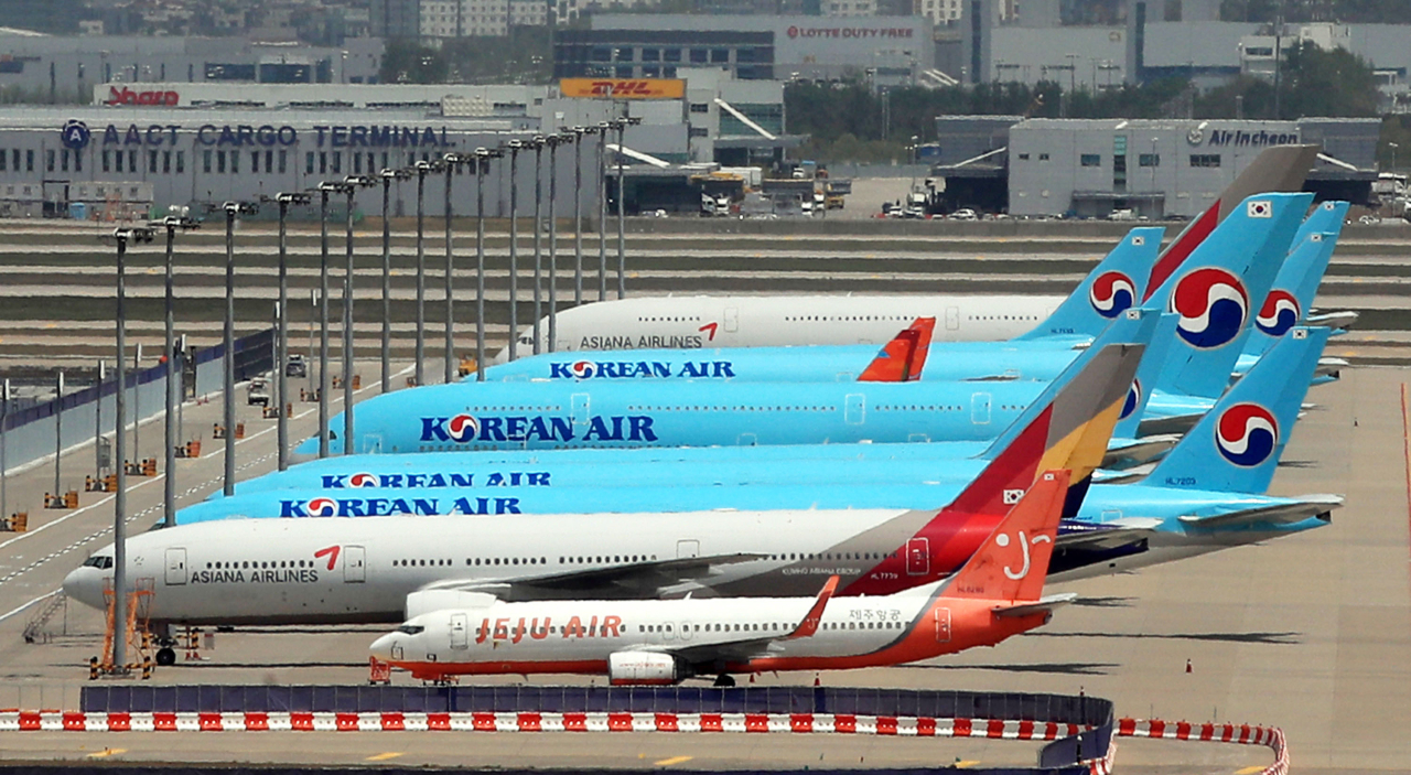 Planes are parked at Incheon International Airport, west of Seoul. (Yonhap)