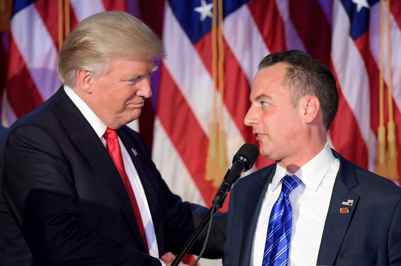 United States President Donald Trump and former chief of staff Reince Priebus (AFP-Yonhap)