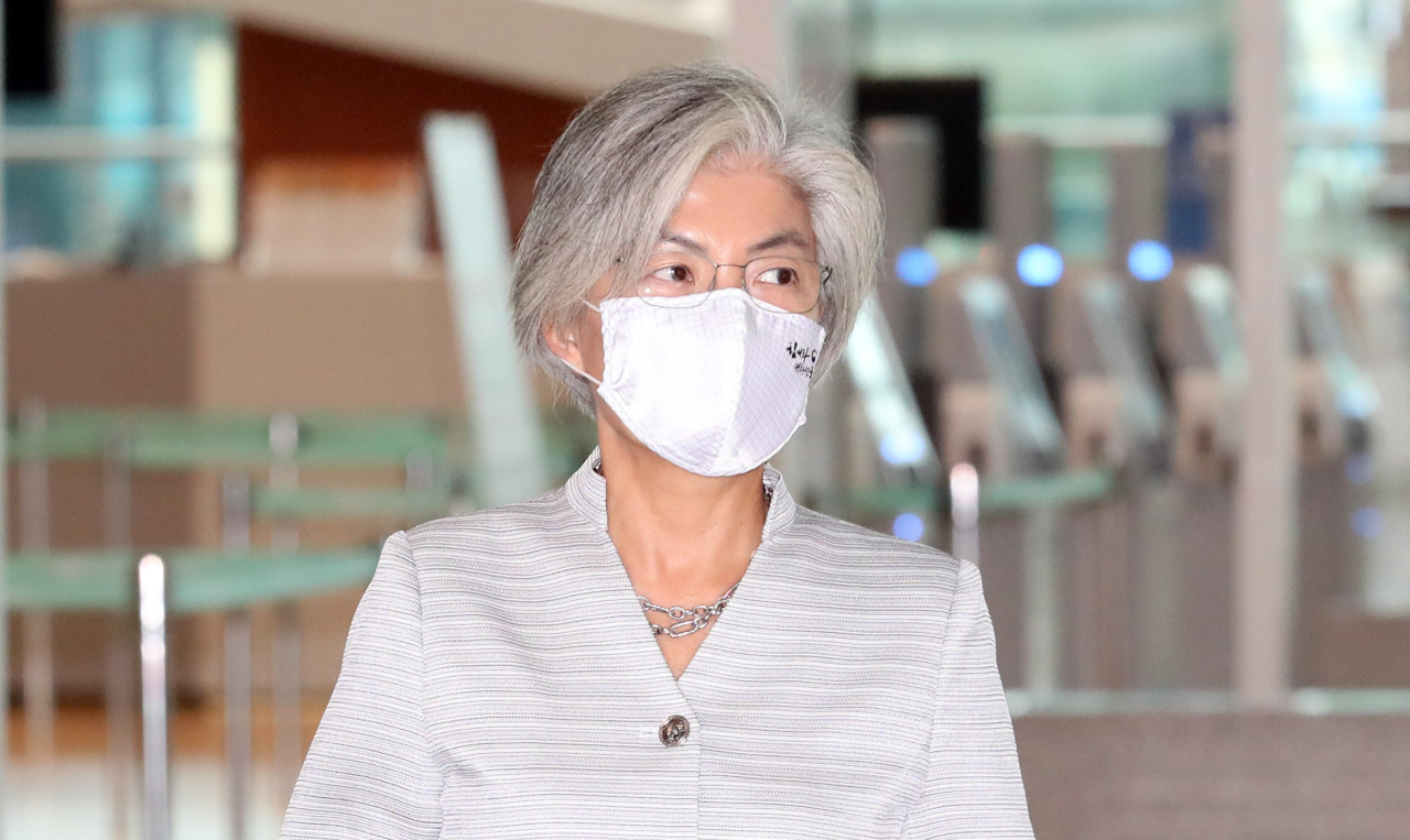 South Korean Foreign Minister Kang Kyung-wha arrives at the Incheon International Airport to depart for Vietnam on Thursday. (Yonhap)