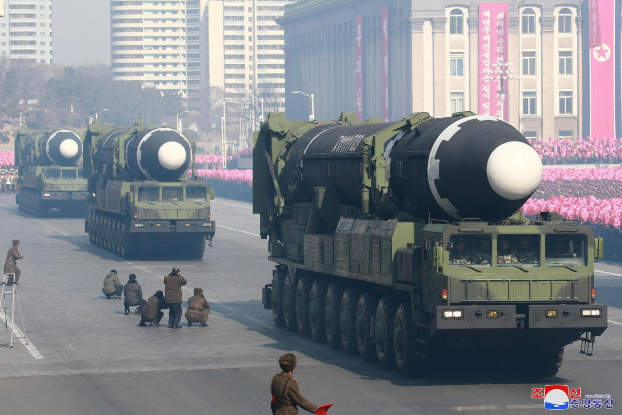 Intercontinental ballistic missiles, Hwasong-15, are seen at a military parade marking the 70th founding anniversary of the Korean People's Army at Kim Il-sung Square in Pyongyang in February 2018. (KCNA-Yonhap)