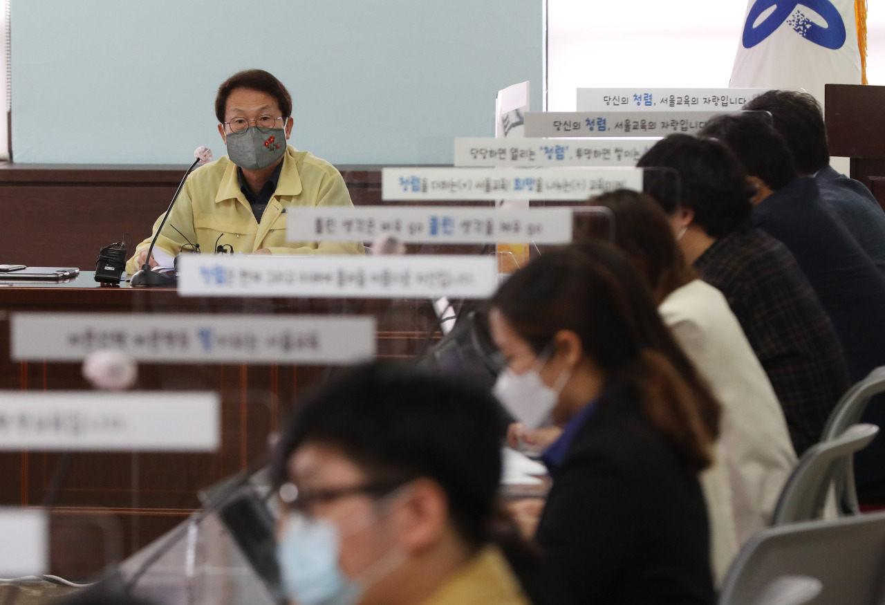Seoul Metropolitan Office of Education Superintendent Cho Hee-yeon speaks during a press briefing Wednesday. (Yonhap)