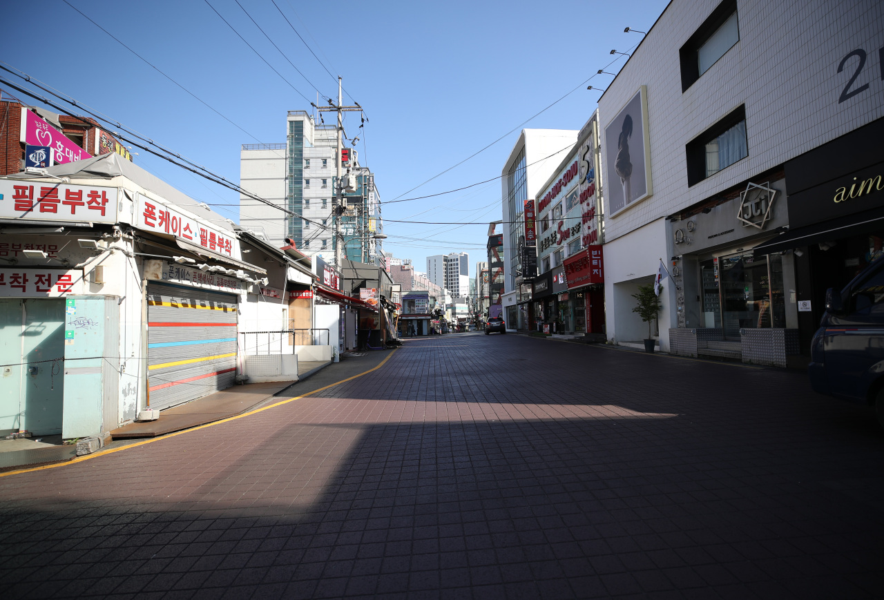 The empty streets of Hongdae (Yonhap)