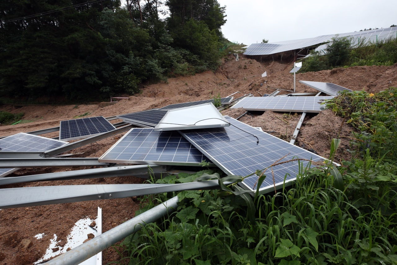 Solar modules destroyed by a landslide in Jaecheon, North Chungcheong Province (Yonhap)