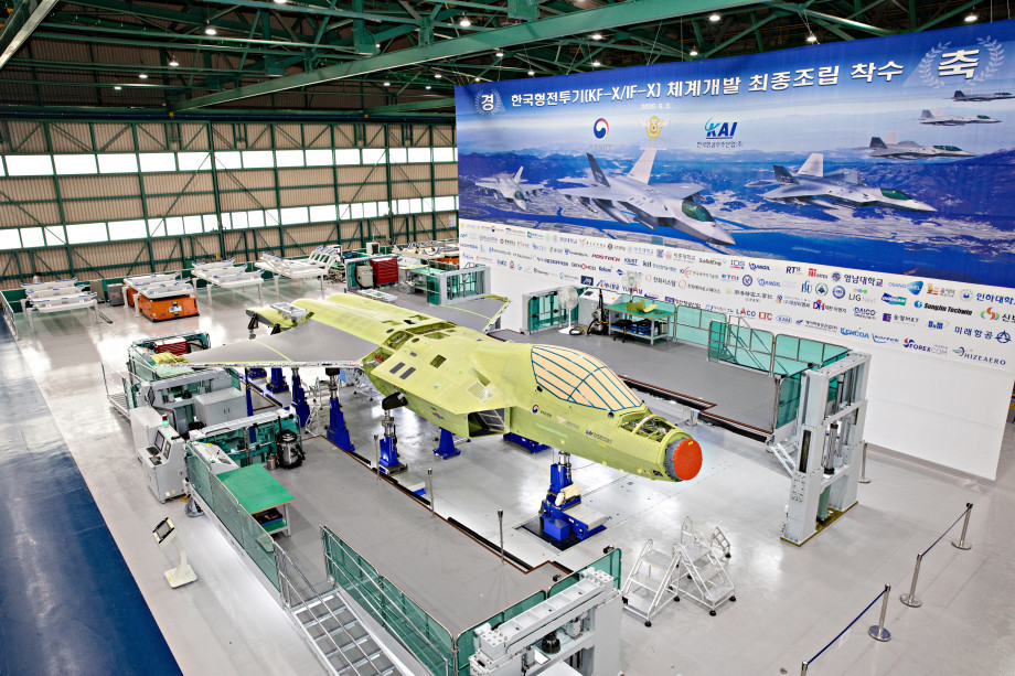 The first prototype of the KF-X fighter is being assembled at KAI headqaurters in Sacheon, South Gyeongsang Province, on Sept. 3. (Defense Acquisition Program Administration)